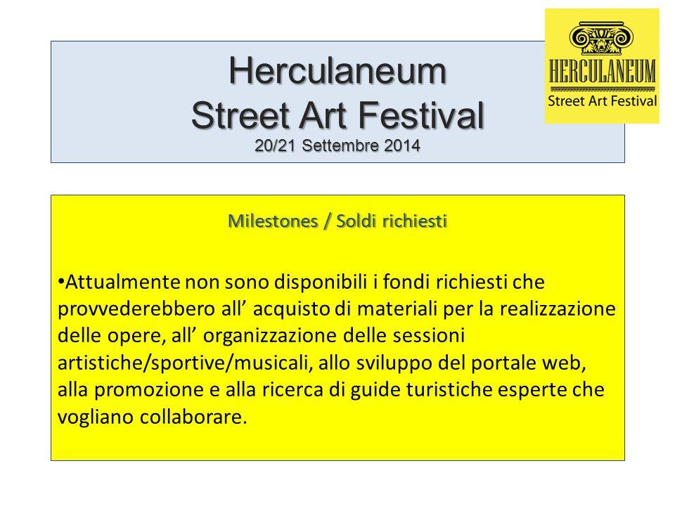 Herculaneum Street Art Festival 20/21 Settembre 2014 Milestones / Soldi richiesti Attualmente non sono disponibili i fondi richiesti che provvederebbe