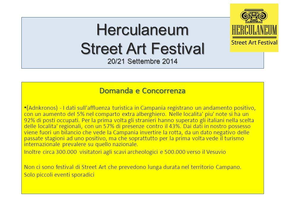 Herculaneum Street Art Festival 20/21 Settembre 2014 Domanda e Concorrenza ( Adnkronos) - I dati sull affluenza turistica in Campania registrano un andamento positivo, con un aumento del 5% nel comparto extra alberghiero.