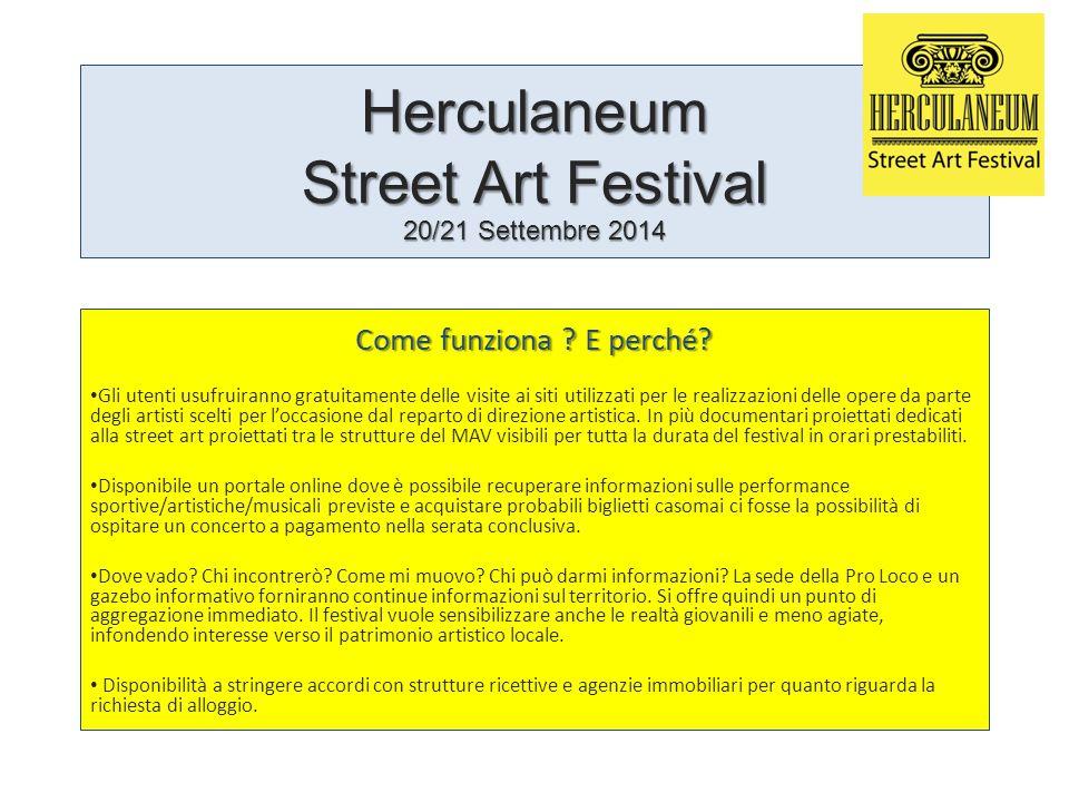 Herculaneum Street Art Festival 20/21 Settembre 2014 Come funziona ? E perché? Gli utenti usufruiranno gratuitamente delle visite ai siti utilizzati p