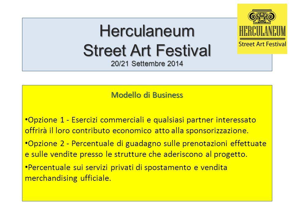 Herculaneum Street Art Festival 20/21 Settembre 2014 Modello di Business Opzione 1 - Esercizi commerciali e qualsiasi partner interessato offrirà il loro contributo economico atto alla sponsorizzazione.