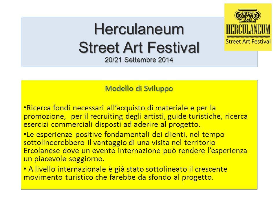 Herculaneum Street Art Festival 20/21 Settembre 2014 Modello di Sviluppo Ricerca fondi necessari all'acquisto di materiale e per la promozione, per il recruiting degli artisti, guide turistiche, ricerca esercizi commerciali disposti ad aderire al progetto.