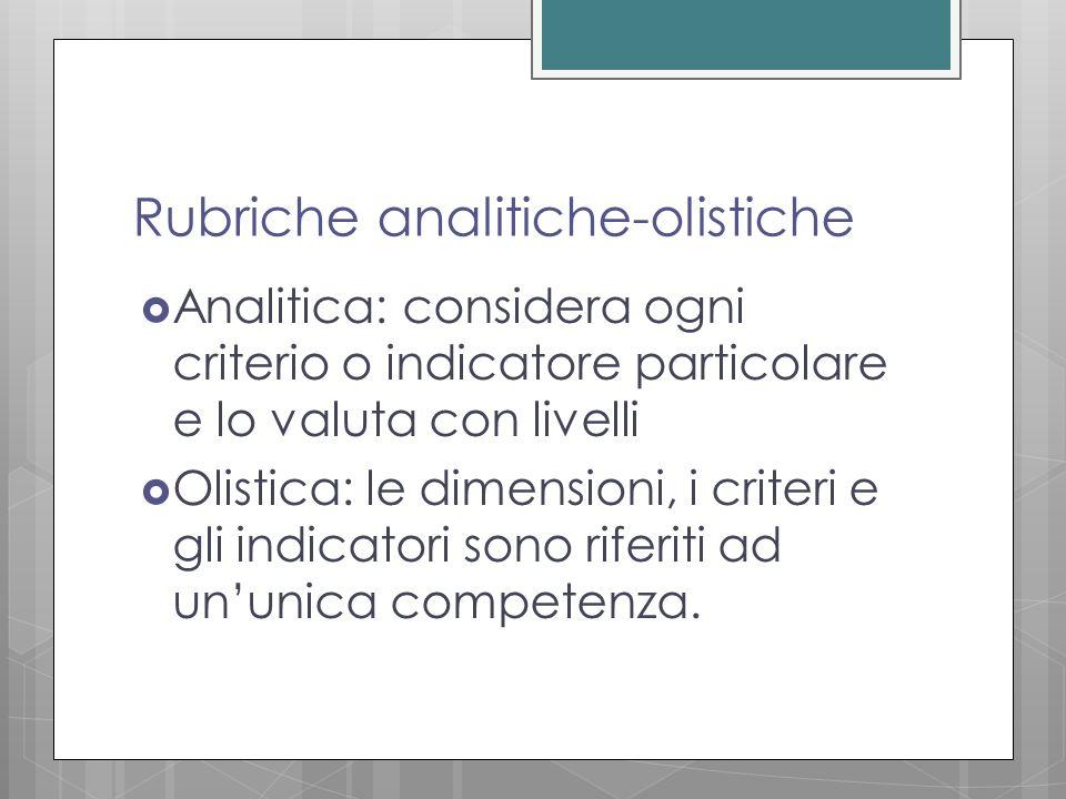 Rubriche analitiche-olistiche  Analitica: considera ogni criterio o indicatore particolare e lo valuta con livelli  Olistica: le dimensioni, i criteri e gli indicatori sono riferiti ad un'unica competenza.