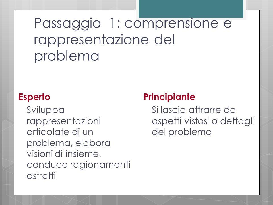 Passaggio 1: comprensione e rappresentazione del problema Esperto Sviluppa rappresentazioni articolate di un problema, elabora visioni di insieme, conduce ragionamenti astratti Principiante Si lascia attrarre da aspetti vistosi o dettagli del problema