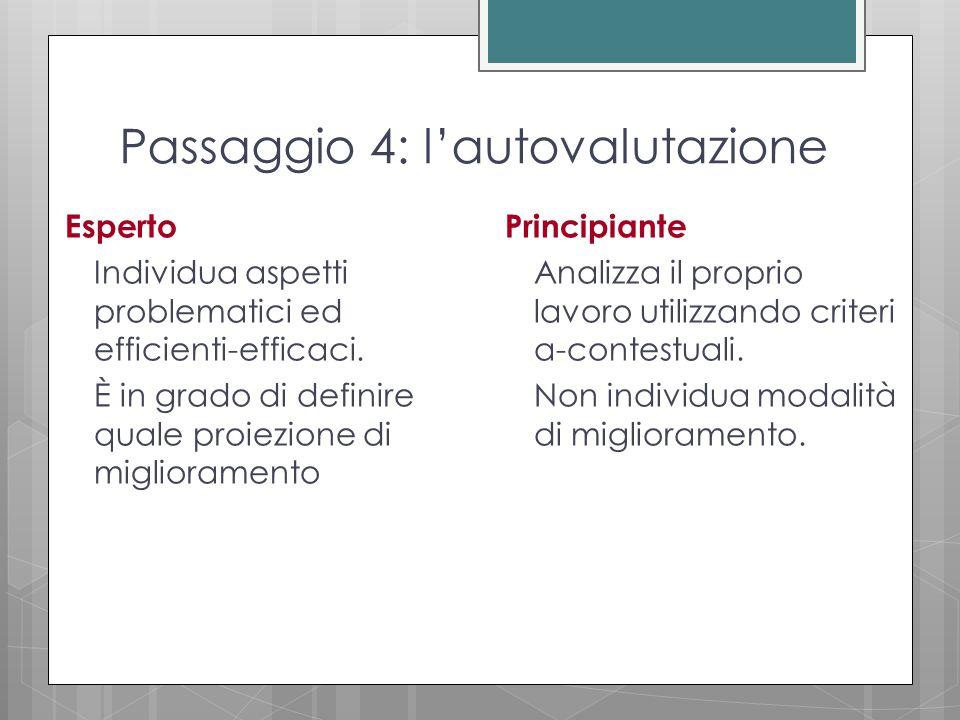 Passaggio 4: l'autovalutazione Esperto Individua aspetti problematici ed efficienti-efficaci.