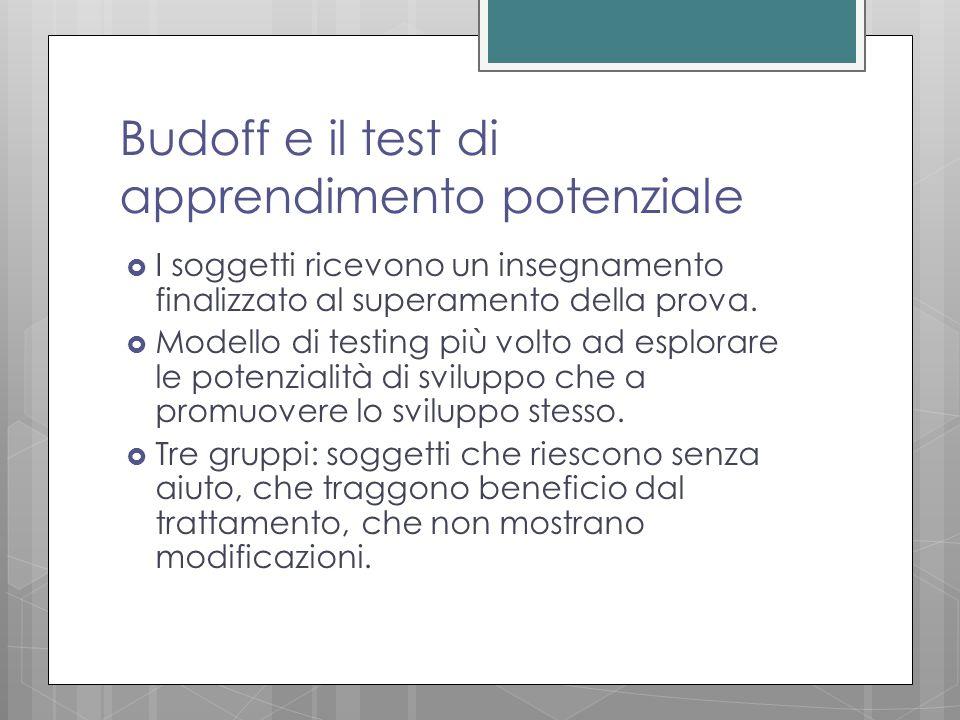 Budoff e il test di apprendimento potenziale  I soggetti ricevono un insegnamento finalizzato al superamento della prova.