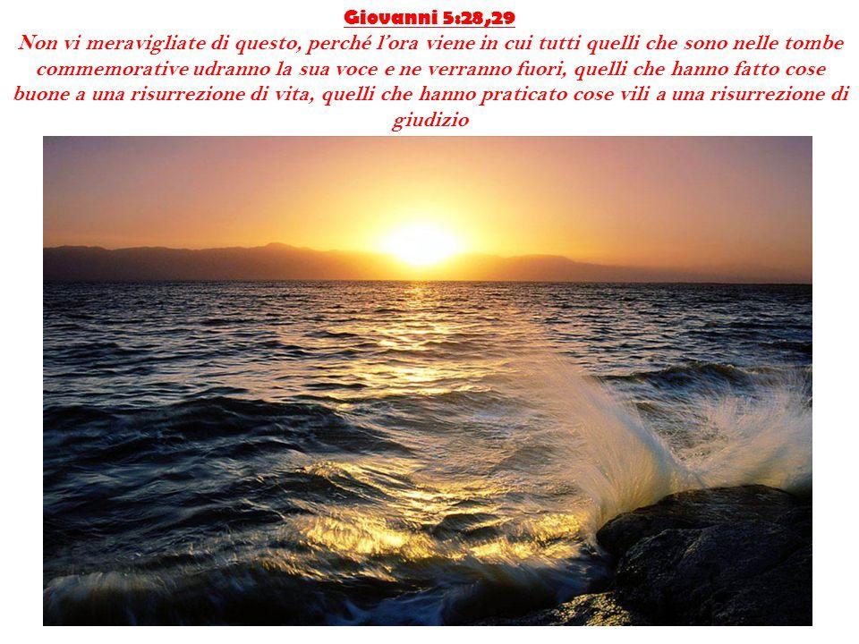 Giovanni 5:28,29 Non vi meravigliate di questo, perché l'ora viene in cui tutti quelli che sono nelle tombe commemorative udranno la sua voce e ne ver