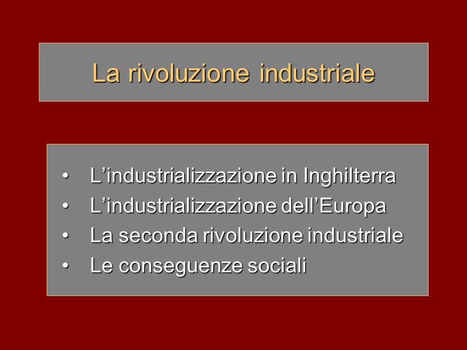 La rivoluzione industriale L'industrializzazione in InghilterraL'industrializzazione in Inghilterra L'industrializzazione dell'EuropaL'industrializzaz
