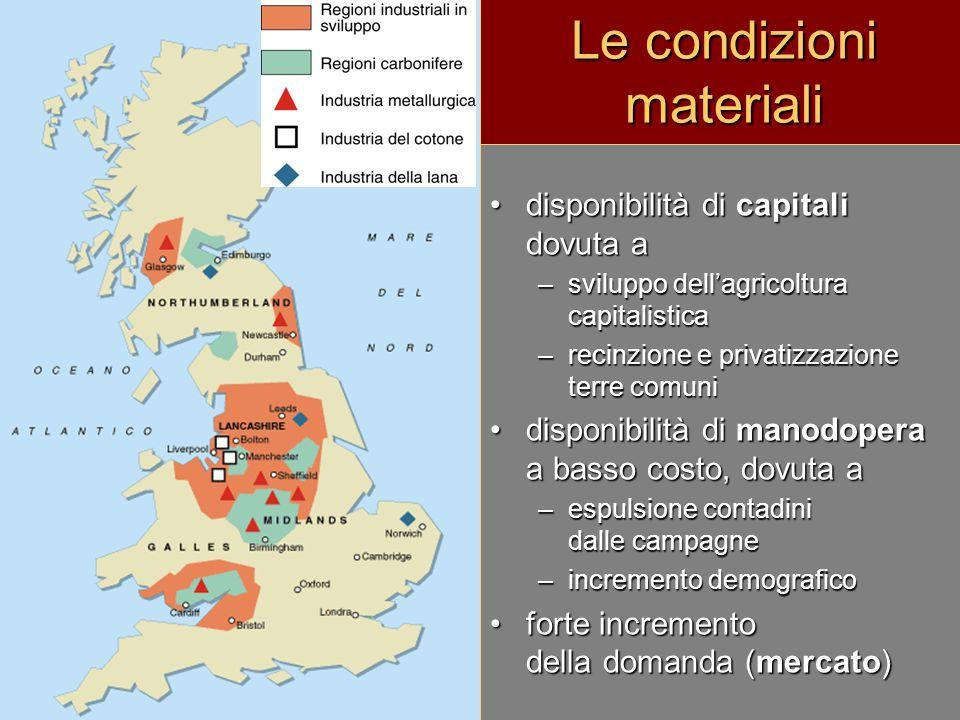 disponibilità di capitali dovuta adisponibilità di capitali dovuta a –sviluppo dell'agricoltura capitalistica –recinzione e privatizzazione terre comu