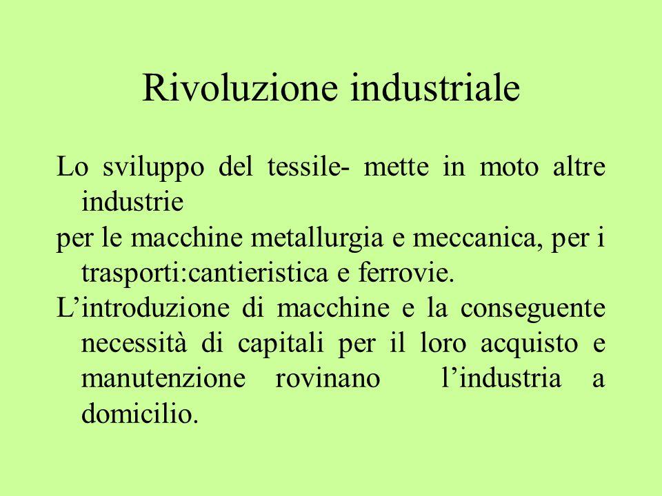 Rivoluzione industriale Lo sviluppo del tessile- mette in moto altre industrie per le macchine metallurgia e meccanica, per i trasporti:cantieristica e ferrovie.