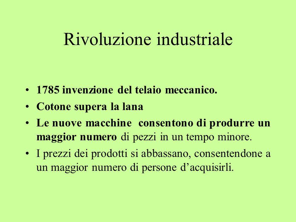 Rivoluzione industriale 1785 invenzione del telaio meccanico.