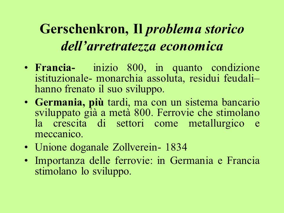 Gerschenkron, Il problema storico dell'arretratezza economica Francia- inizio 800, in quanto condizione istituzionale- monarchia assoluta, residui feudali– hanno frenato il suo sviluppo.