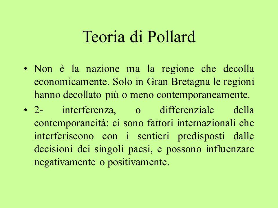 Teoria di Pollard Non è la nazione ma la regione che decolla economicamente.
