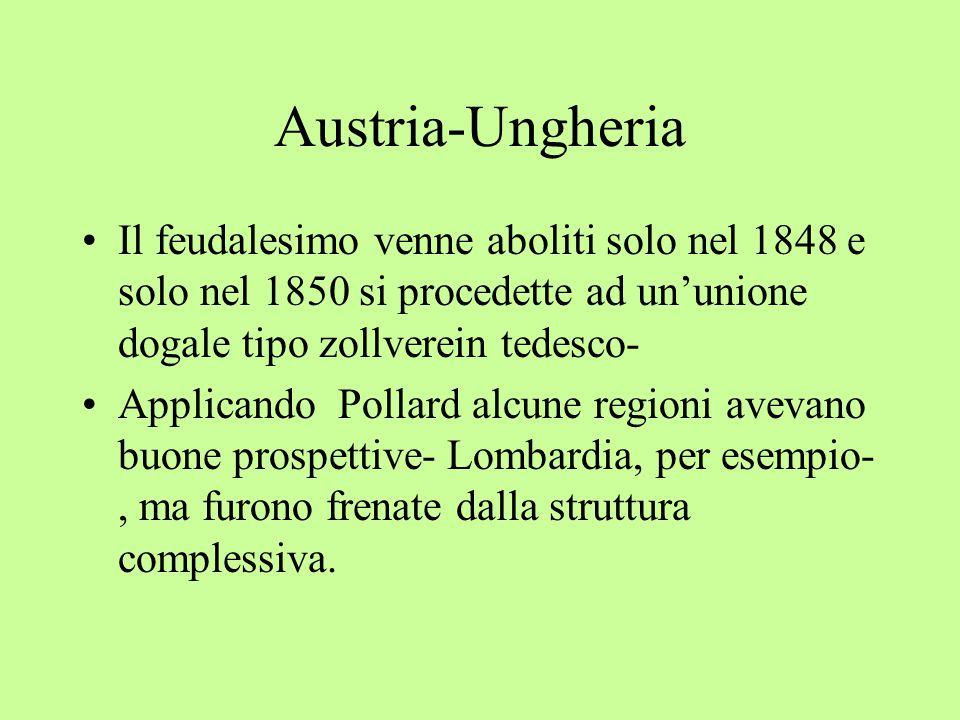 Austria-Ungheria Il feudalesimo venne aboliti solo nel 1848 e solo nel 1850 si procedette ad un'unione dogale tipo zollverein tedesco- Applicando Pollard alcune regioni avevano buone prospettive- Lombardia, per esempio-, ma furono frenate dalla struttura complessiva.