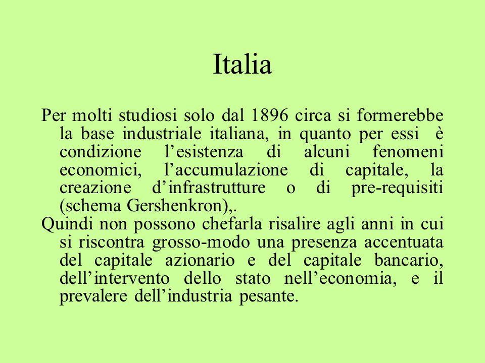 Italia Per molti studiosi solo dal 1896 circa si formerebbe la base industriale italiana, in quanto per essi è condizione l'esistenza di alcuni fenomeni economici, l'accumulazione di capitale, la creazione d'infrastrutture o di pre-requisiti (schema Gershenkron),.