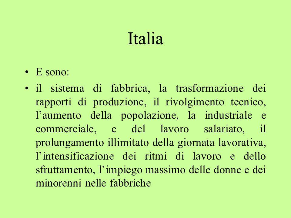 Italia E sono: il sistema di fabbrica, la trasformazione dei rapporti di produzione, il rivolgimento tecnico, l'aumento della popolazione, la industriale e commerciale, e del lavoro salariato, il prolungamento illimitato della giornata lavorativa, l'intensificazione dei ritmi di lavoro e dello sfruttamento, l'impiego massimo delle donne e dei minorenni nelle fabbriche