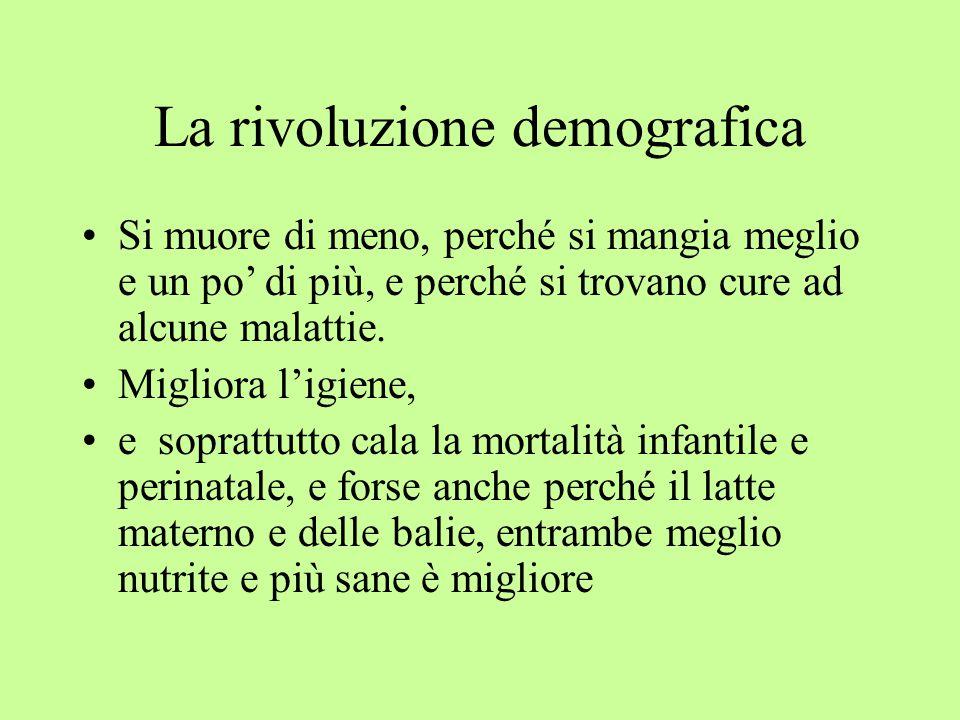 La rivoluzione demografica Si muore di meno, perché si mangia meglio e un po' di più, e perché si trovano cure ad alcune malattie.