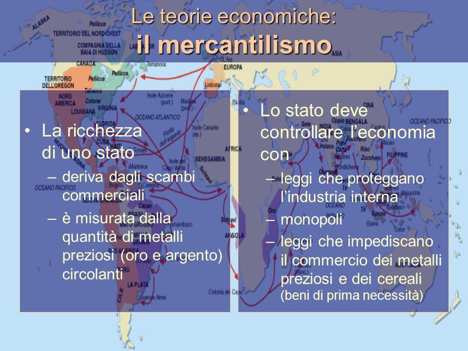 Le teorie economiche: il mercantilismo La ricchezza di uno stato –deriva dagli scambi commerciali –è misurata dalla quantità di metalli preziosi (oro