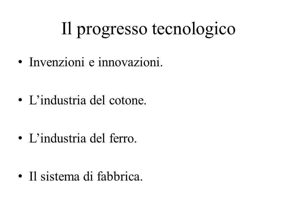 Il progresso tecnologico Invenzioni e innovazioni. L'industria del cotone. L'industria del ferro. Il sistema di fabbrica.