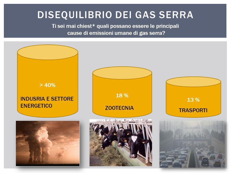 DISEQUILIBRIO DEI GAS SERRA Ti sei mai chiest* quali possano essere le principali cause di emissioni umane di gas serra? > 40% 18 % 13 % INDUSRIA E SE