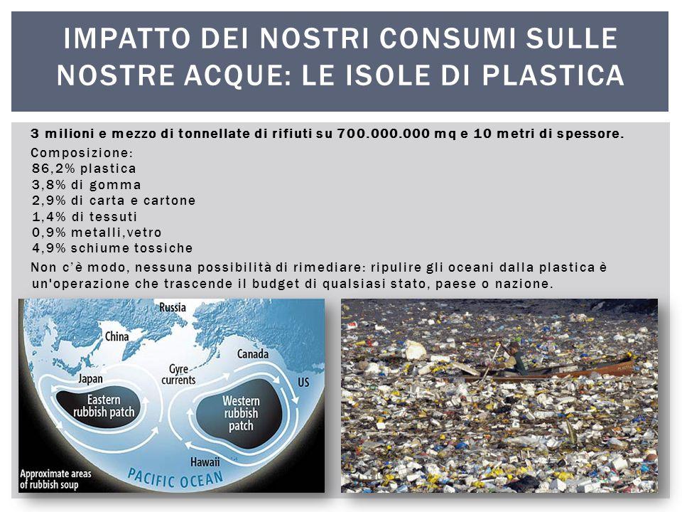 3 milioni e mezzo di tonnellate di rifiuti su 700.000.000 mq e 10 metri di spessore. Composizione: 86,2% plastica 3,8% di gomma 2,9% di carta e carton