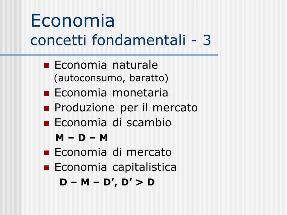 Economia concetti fondamentali - 3 Economia naturale (autoconsumo, baratto)  Economia monetaria Produzione per il mercato Economia di scambio M – D – M Economia di mercato Economia capitalistica D – M – D', D' > D