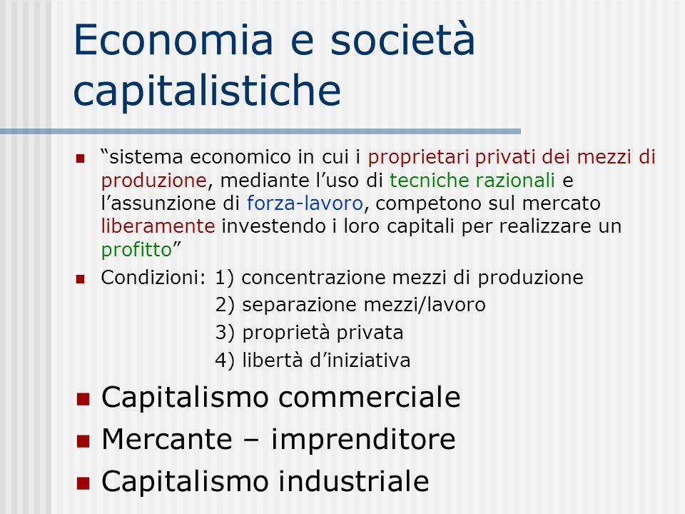 """Economia e società capitalistiche """"sistema economico in cui i proprietari privati dei mezzi di produzione, mediante l'uso di tecniche razionali e l'as"""