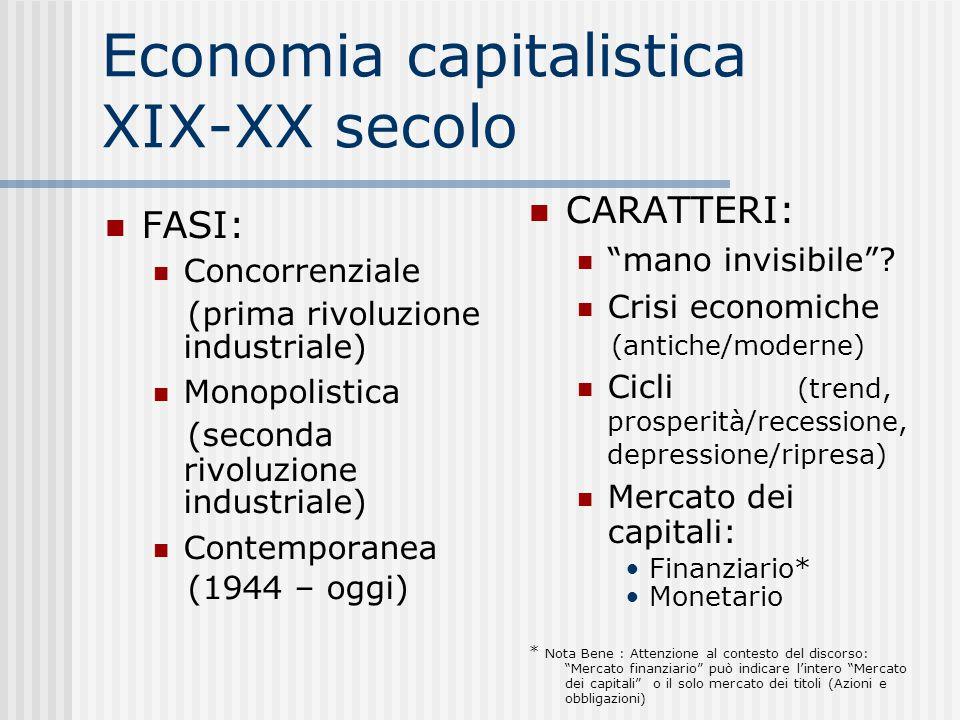 Economia capitalistica XIX-XX secolo FASI: Concorrenziale (prima rivoluzione industriale)  Monopolistica (seconda rivoluzione industriale)  Contemporanea (1944 – oggi)  CARATTERI: mano invisibile .