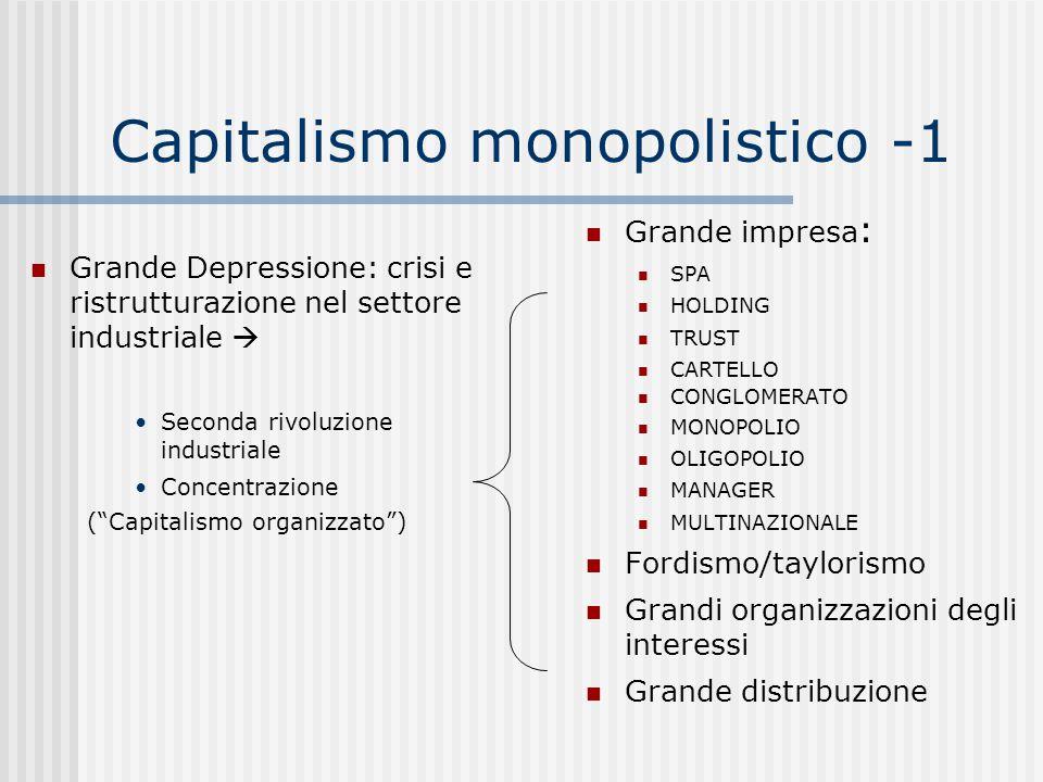 """Capitalismo monopolistico -1 Grande Depressione: crisi e ristrutturazione nel settore industriale  Seconda rivoluzione industriale Concentrazione (""""C"""