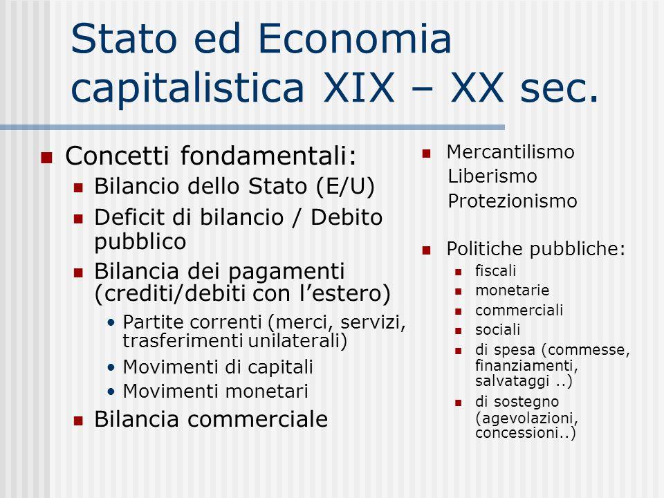 Stato ed Economia capitalistica XIX – XX sec. Concetti fondamentali: Bilancio dello Stato (E/U)  Deficit di bilancio / Debito pubblico Bilancia dei p
