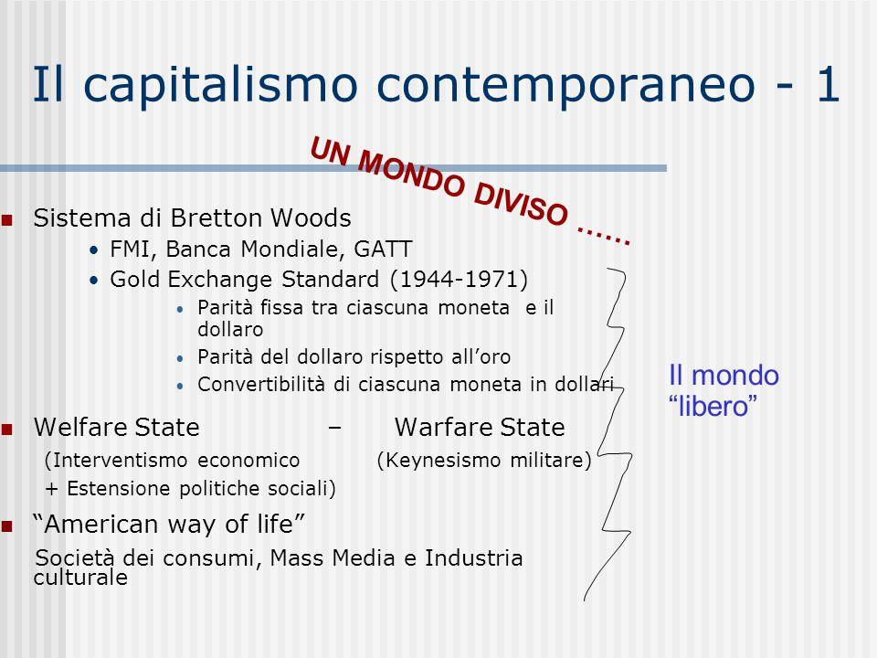 Il capitalismo contemporaneo - 1 Sistema di Bretton Woods FMI, Banca Mondiale, GATT Gold Exchange Standard (1944-1971) Parità fissa tra ciascuna monet
