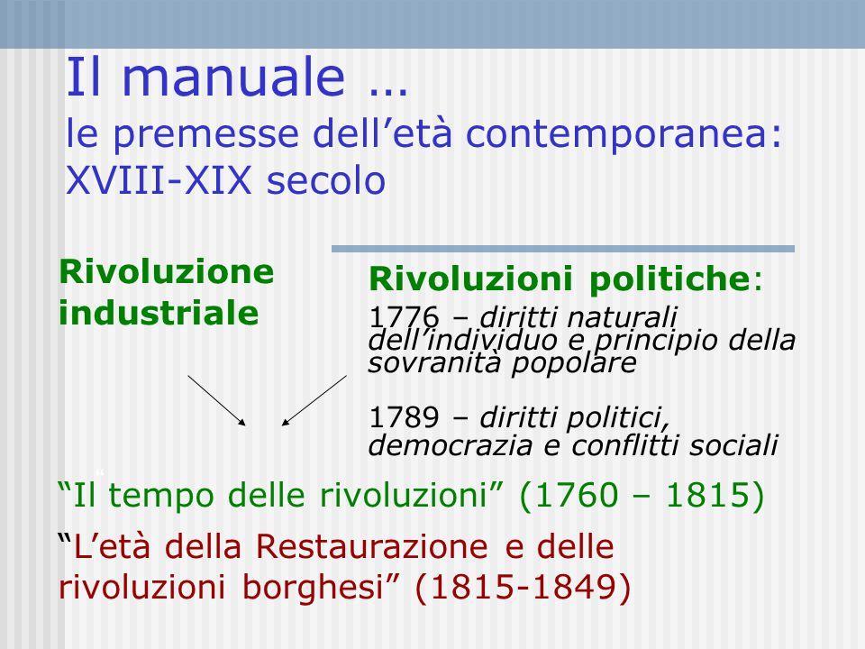 Il manuale … le premesse dell'età contemporanea: XVIII-XIX secolo Rivoluzione industriale Rivoluzioni politiche: 1776 – diritti naturali dell'individu