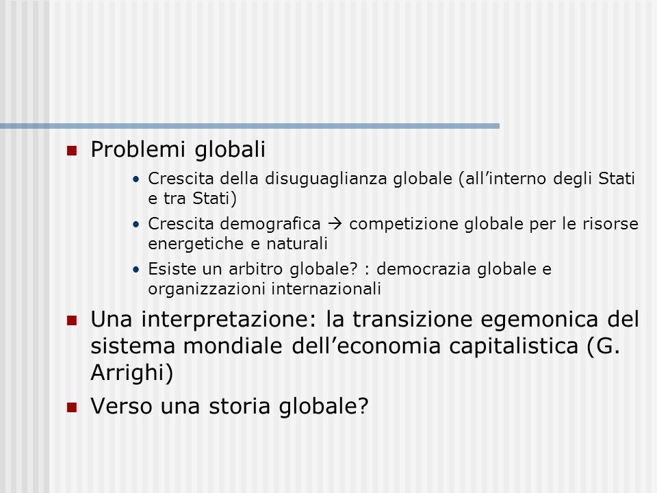 Problemi globali Crescita della disuguaglianza globale (all'interno degli Stati e tra Stati) Crescita demografica  competizione globale per le risors