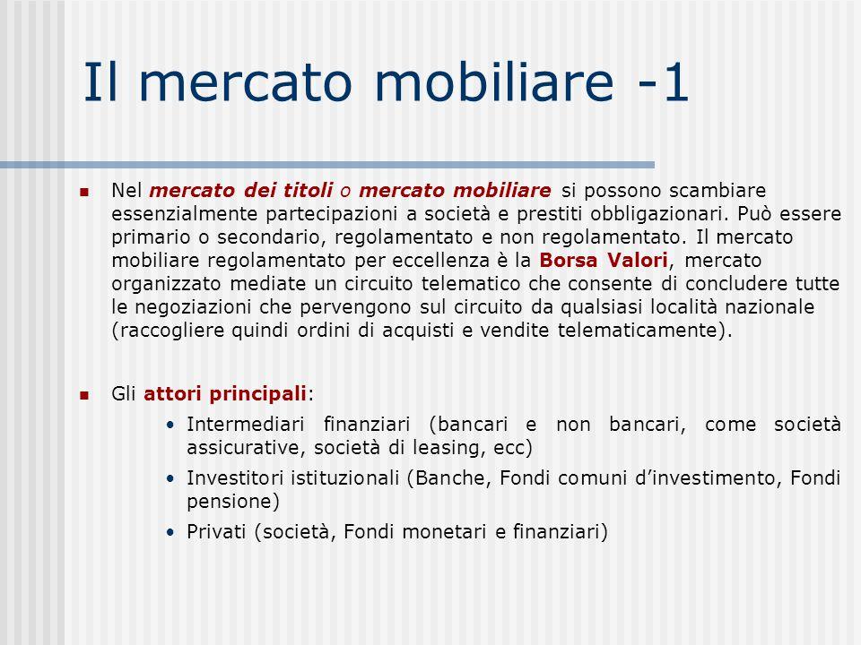 Il mercato mobiliare -1 Nel mercato dei titoli o mercato mobiliare si possono scambiare essenzialmente partecipazioni a società e prestiti obbligazionari.