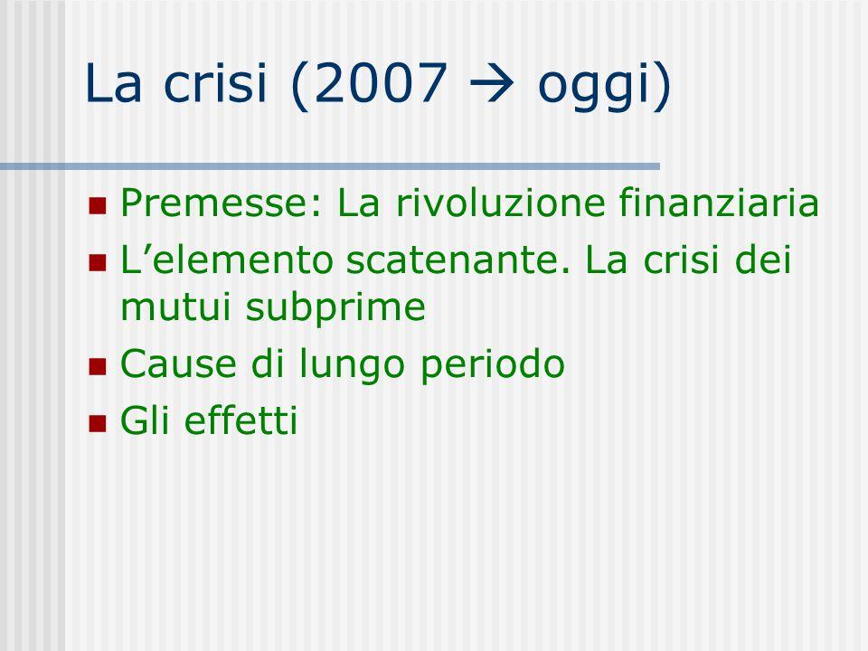 La crisi (2007  oggi) Premesse: La rivoluzione finanziaria L'elemento scatenante. La crisi dei mutui subprime Cause di lungo periodo Gli effetti