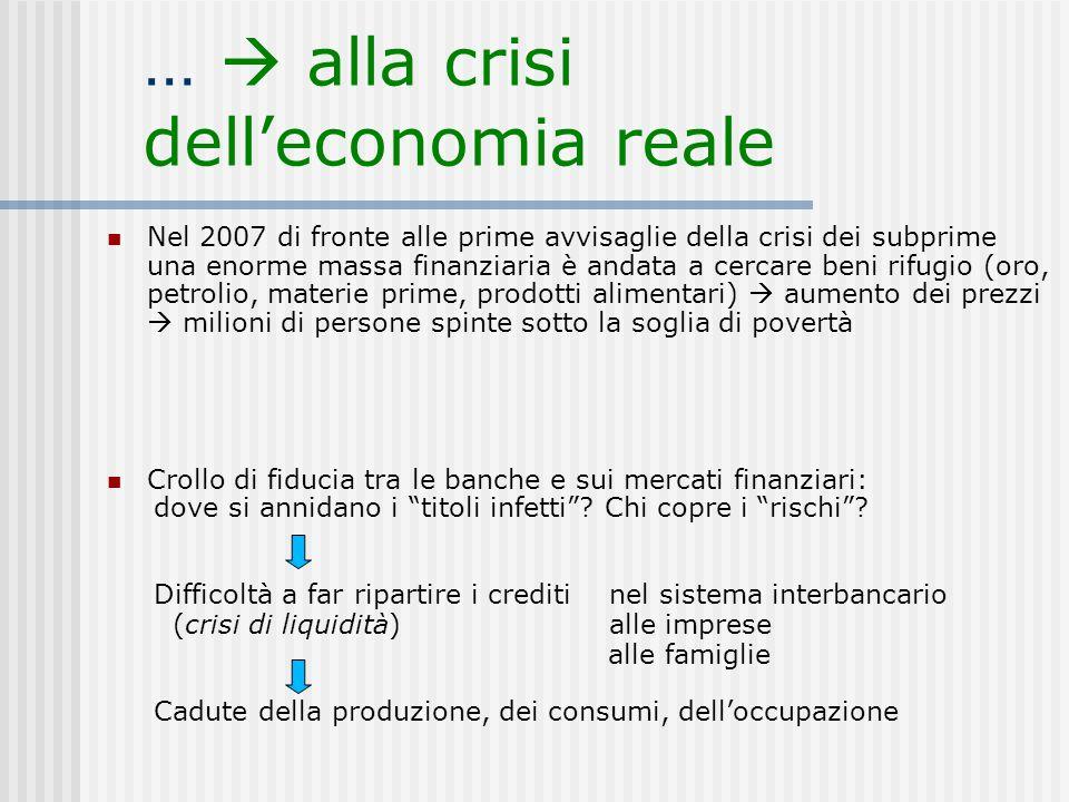 …  alla crisi dell'economia reale Nel 2007 di fronte alle prime avvisaglie della crisi dei subprime una enorme massa finanziaria è andata a cercare b