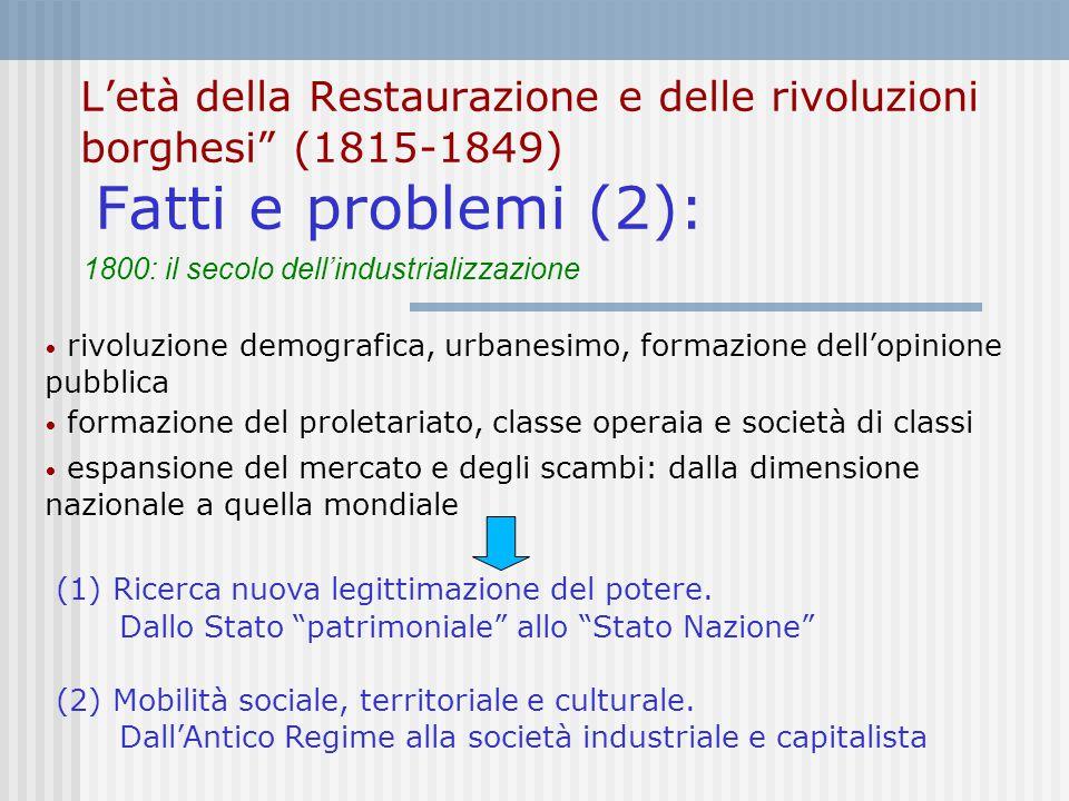 """L'età della Restaurazione e delle rivoluzioni borghesi"""" (1815-1849) Fatti e problemi (2): rivoluzione demografica, urbanesimo, formazione dell'opinion"""