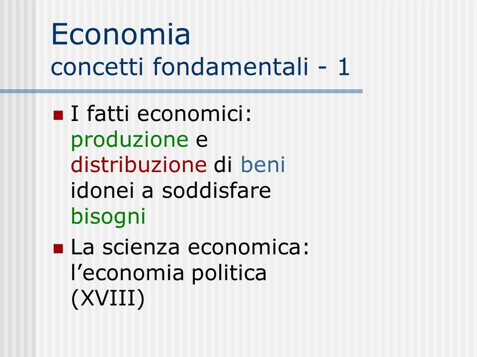 Economia concetti fondamentali - 1 I fatti economici: produzione e distribuzione di beni idonei a soddisfare bisogni La scienza economica: l'economia politica (XVIII) 