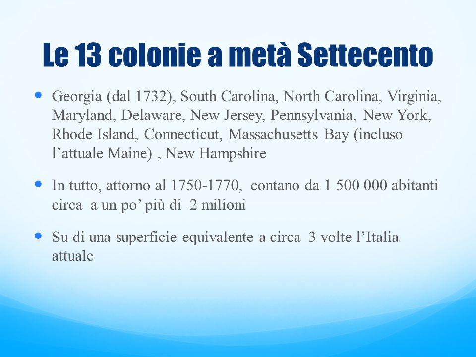 La popolazione Nel 1783 su circa 2 500 000 abitanti si contavano 40% d'inglesi, 16% d'irlandesi e scozzesi, 10% di tedeschi e svizzeri, e 10% di schiavi africani (maggiormente abitanti degli Stati meridionali).