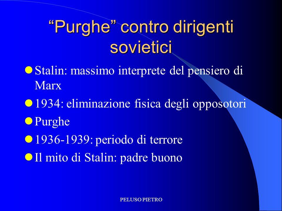 """PELUSO PIETRO """"Purghe"""" contro dirigenti sovietici Stalin: massimo interprete del pensiero di Marx 1934: eliminazione fisica degli opposotori Purghe 19"""