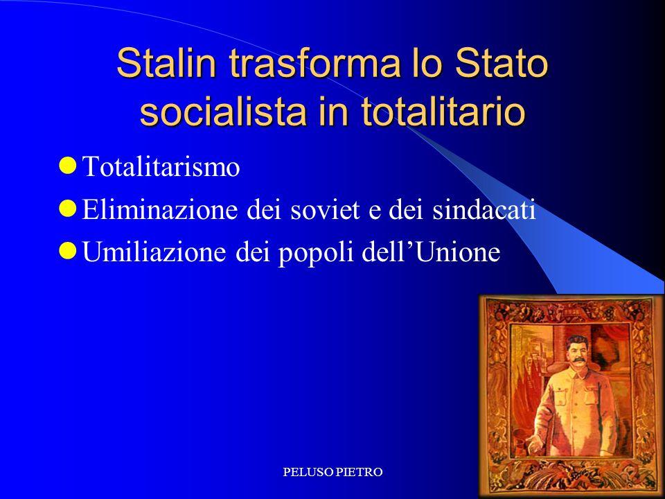 PELUSO PIETRO Stalin trasforma lo Stato socialista in totalitario Totalitarismo Eliminazione dei soviet e dei sindacati Umiliazione dei popoli dell'Unione