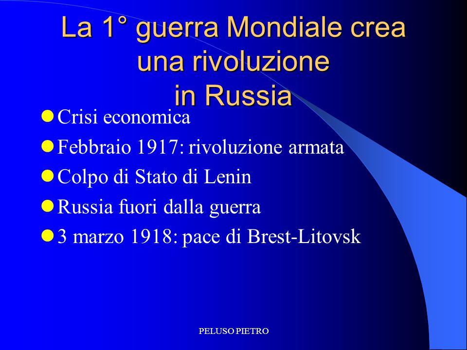 PELUSO PIETRO La 1° guerra Mondiale crea una rivoluzione in Russia Crisi economica Febbraio 1917: rivoluzione armata Colpo di Stato di Lenin Russia fu