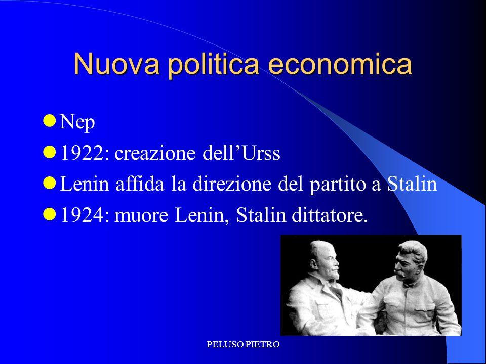 PELUSO PIETRO Nuova politica economica Nep 1922: creazione dell'Urss Lenin affida la direzione del partito a Stalin 1924: muore Lenin, Stalin dittator
