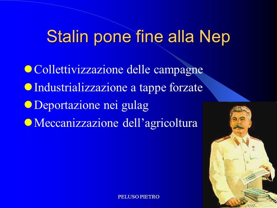 PELUSO PIETRO Stalin pone fine alla Nep Collettivizzazione delle campagne Industrializzazione a tappe forzate Deportazione nei gulag Meccanizzazione dell'agricoltura