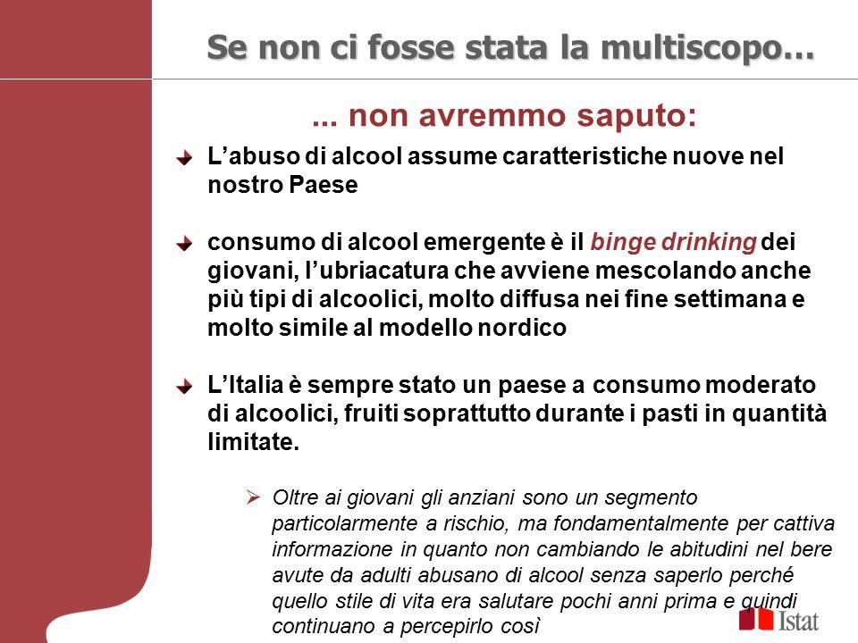 ... non avremmo saputo: Se non ci fosse stata la multiscopo… L'abuso di alcool assume caratteristiche nuove nel nostro Paese consumo di alcool emergen