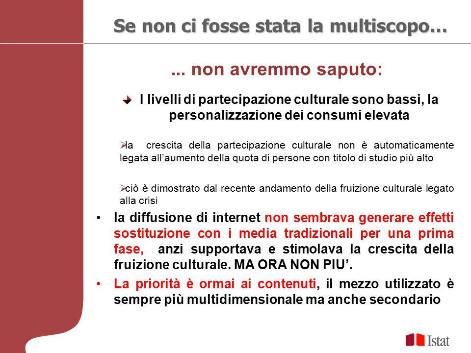 ... non avremmo saputo: Se non ci fosse stata la multiscopo… I livelli di partecipazione culturale sono bassi, la personalizzazione dei consumi elevat