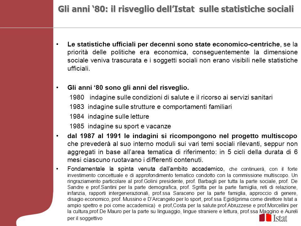 Le statistiche ufficiali per decenni sono state economico-centriche, se la priorità delle politiche era economica, conseguentemente la dimensione soci