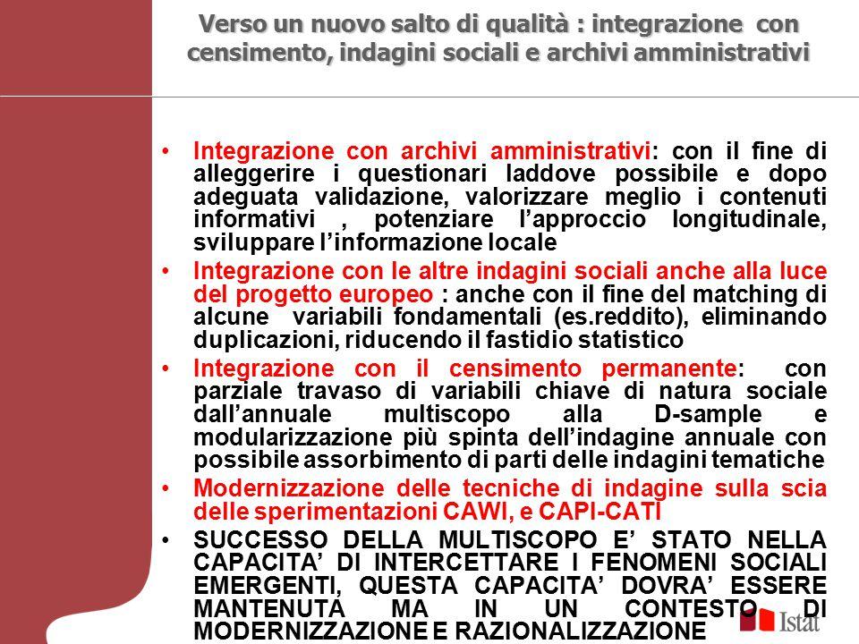 Verso un nuovo salto di qualità : integrazione con censimento, indagini sociali e archivi amministrativi Integrazione con archivi amministrativi: con