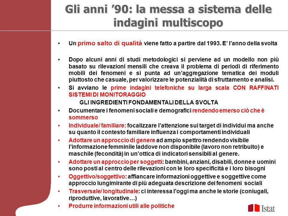 Gli anni '90: la messa a sistema delle indagini multiscopo Un primo salto di qualità viene fatto a partire dal 1993. E' l'anno della svolta Dopo alcun