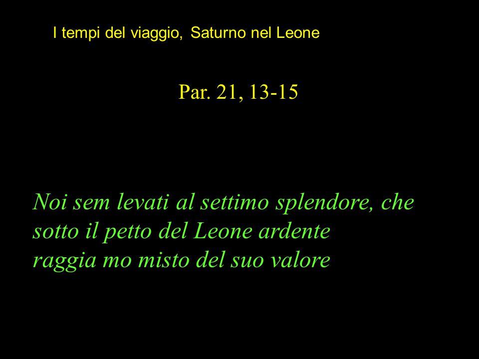 Noi sem levati al settimo splendore, che sotto il petto del Leone ardente raggia mo misto del suo valore Par. 21, 13-15 I tempi del viaggio, Saturno n
