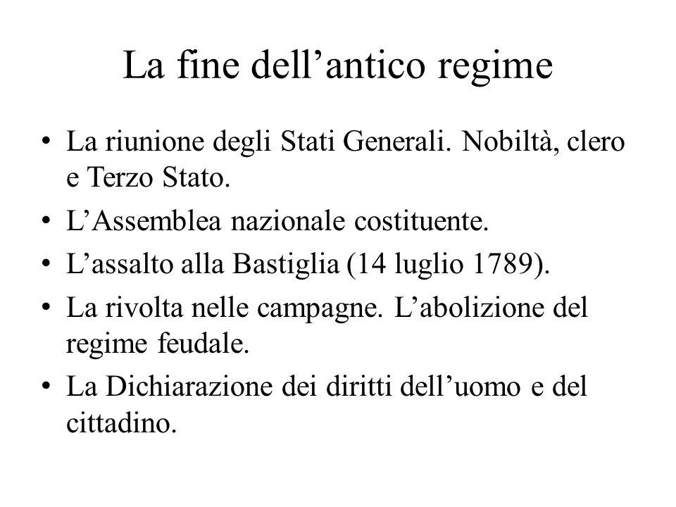 La fine dell'antico regime La riunione degli Stati Generali.